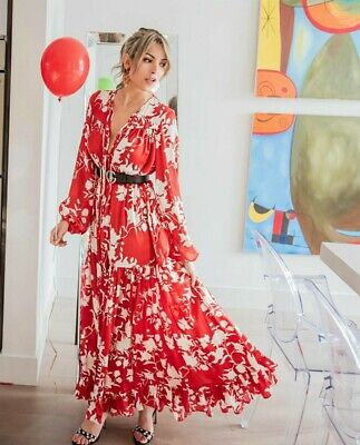 Johanna Ortiz X H&M Red Rose Volume Satin Dress Extra Small 6 SOLD OUT BLOGGERS