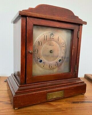 RARE ANTIQUE ANSONIA STAINED HARD WOOD BRACKET MANTLE CLOCK
