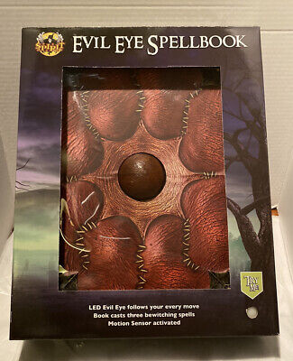 Brand New Evil Eye Spellbook 14 Inch Animated Halloween Spell Book Prop Spirit