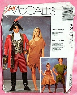 Uncut McCalls Childs 2-4 Peter Pan Tinkerbell Captain Hook Costumes Pattern P397