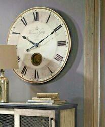 NEW Harrison Wall Clock Brass Vintage French Modern Farmhouse 30 XL Pendulum