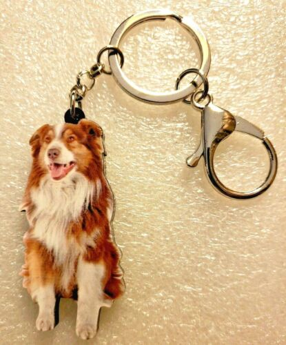 Australian Shepherd Realistic Sitting Dog Acrylic Key Ring Keychain Jewelry