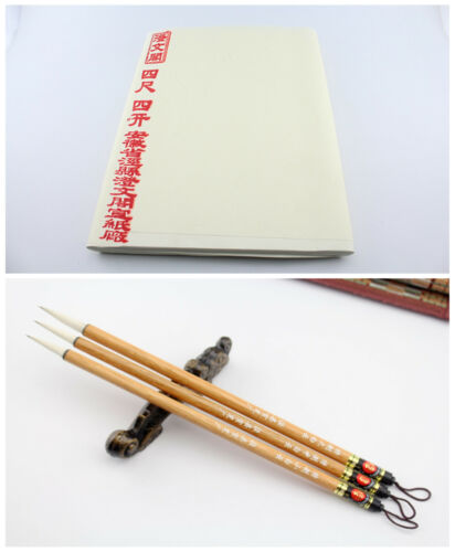 "100pc Beginner Rice Xuan Paper 14×27"" + 3Pc Chinese Painting Calligraphy Brush"