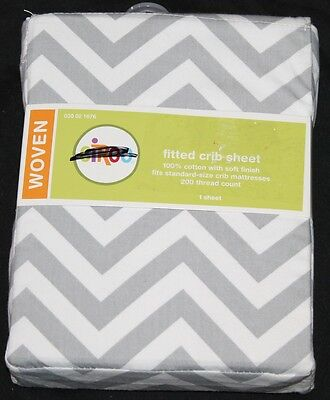 Circo Fitted Crib Sheet Gray White Chevron cotton toddler bed sheet new #1676 for sale  USA