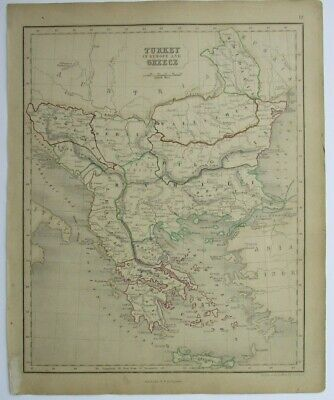 Antique Map of Turkey in Europe and Greece by William & Robert Chambers 1845