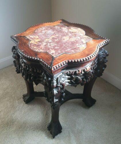 Ornate Chinese Hardwood Taboret