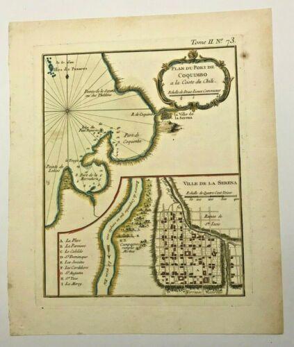 CHILE COQUIMBO LA SERENA 1760 NICOLAS BELLIN NICE ANTIQUE PLAN 18TH CENTURY