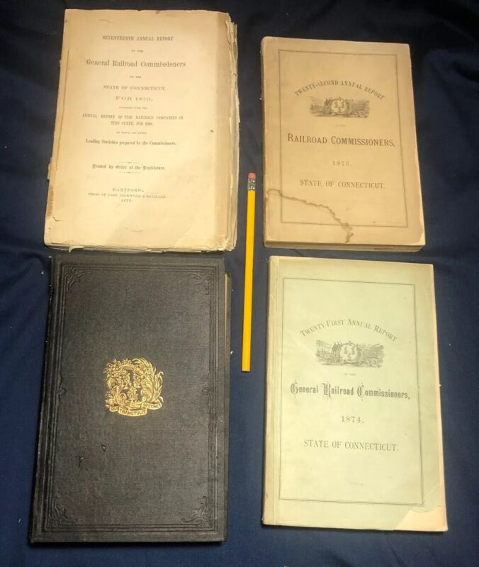 Old 1870-1877 Railroad CT Commission Report Book Lot Post Civil War & Map