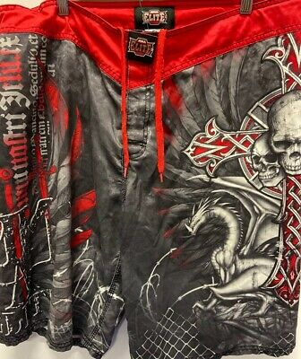 MMA Mens Fighting Shorts Size Large Skulls/Dragon Red With Grey Preowned Gray Fight Shorts