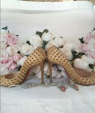 Christian Louboutin Follies Spikes 100 Gold Glitter 37 Receipt RARE Caringbah Sutherland Area Preview