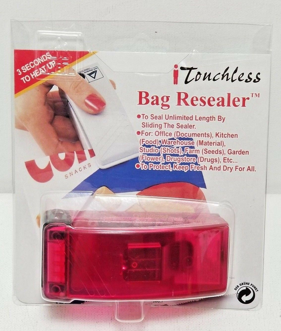 iTouchless Handheld Heat Bag ReSealer for Airtight Food Stor