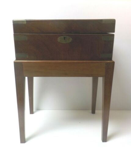 19th C. English Brass Banded Document Box on Custom Made Stand