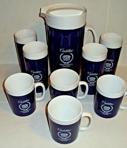 NEW Cadillac Craftsman's League Thermo-Serv Pitcher Cups Glasses Set Boxes NOS