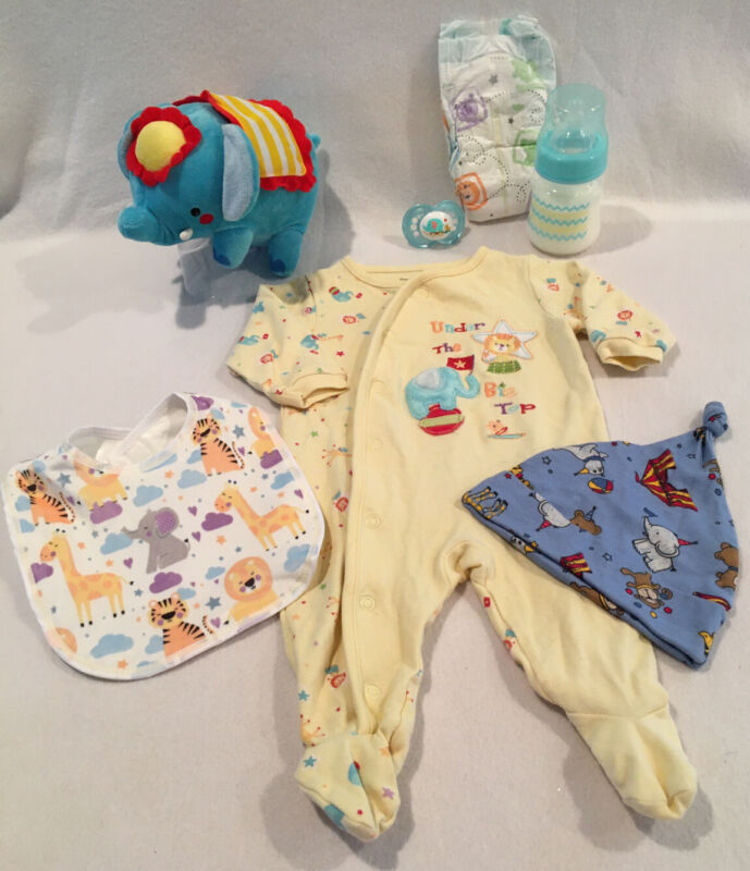 Reborn Baby Doll Elephant Outfit W/pacifier, bottle & accs