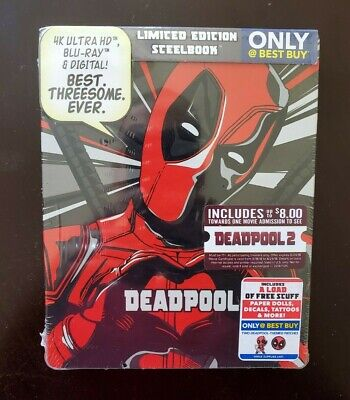 DEADPOOL Limited Edition Steelbook (4K Blu-ray + Blu-ray + Digital) - NEW/SEALED