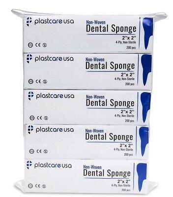 2x2 Non Woven Sponges 4-Ply, Non-Sterile Cotton Dental Gauze (1000 Pack)
