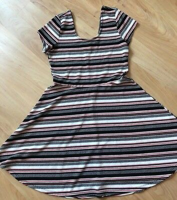 PLANET GOLD Teen Girls Dress size XL Fit & Flare Pin Tan Stripe Tan Gold Flare