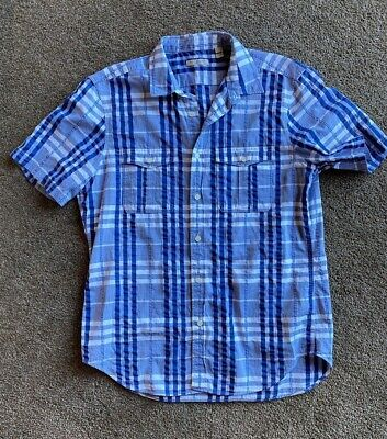 Burberry Men's Plaid Short Sleeve Casual Shirt Size Large