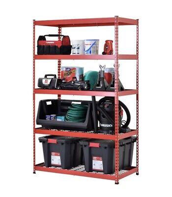 Husky Red 5-tier Heavy Duty Steel Garage Storage Shelving 48 In. Wx78 In Hx24 In