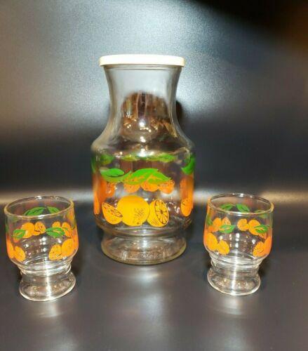 Vintage Anchor Hocking Orange Juice Carafe Set ~ 2 Glasses & Pitcher