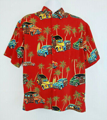 1940s Men's Shirts, Sweaters, Vests Box Office Island Red 1940s Ford Woody Wagon Car Print Casual Shirt size M L54 $17.99 AT vintagedancer.com
