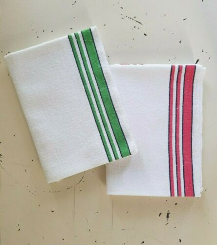 (2) Vintage White COTTON Kitchen Dish Towels PASTRY Cloth Red Green Stripe