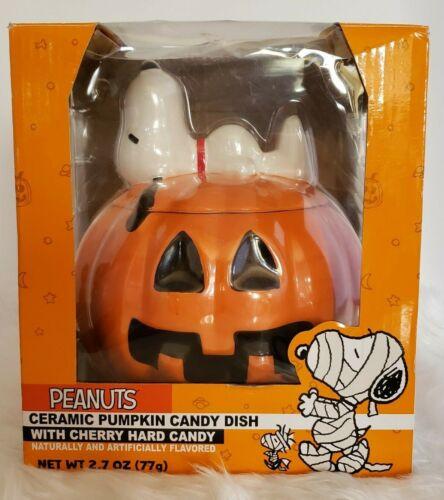 Peanuts Snoopy Halloween Pumpkin Ceramic Lidded Candy Dish Galerie New Woodstock