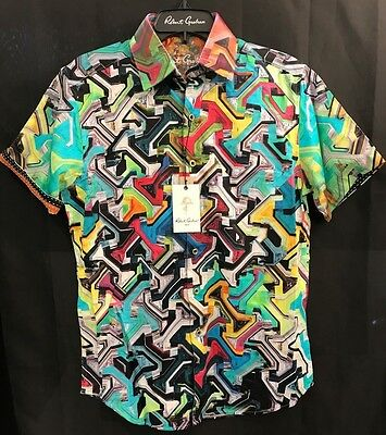 Robert Graham Magnetic Field Medium 100  Cotton Classic Fit New Nwt S Free Ship