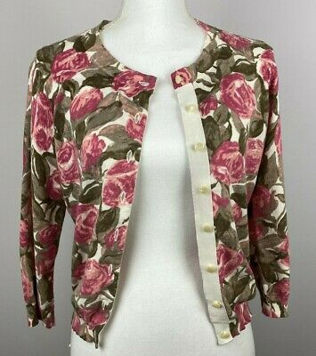 Mad Men 1960s women's button front sweater, Banana Republic, pink floral, size S