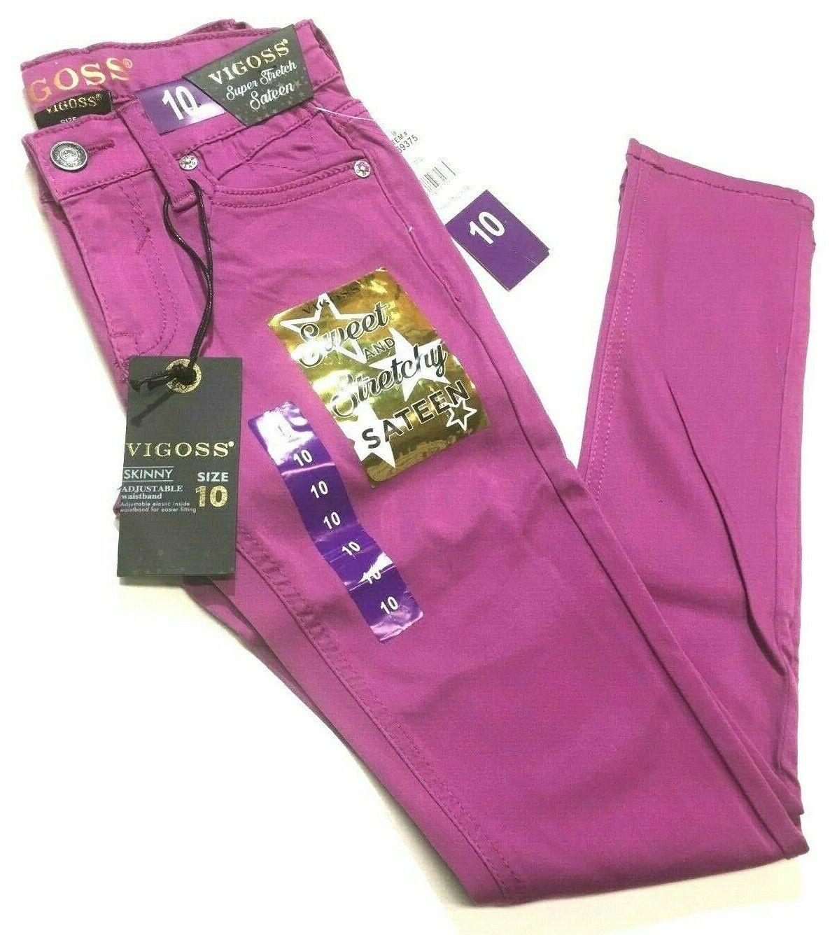NEW Vigoss Girls' Skinny Super Stretch Sateen Jeans Pink Pan