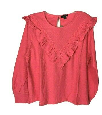 J Crew Womens Scoopneck Ruffle Trim Honeycomb Knit Cotton Blouse XL Pink Honeycomb Scoop Neck