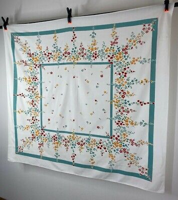 GORGEOUS Mid Century Vintage Tablecloth w/ Sprays of Summer Flowers Red + Yellow