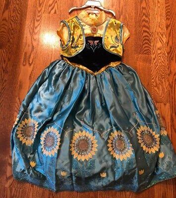 NEW Disney Store Frozen Fever Anna and Elsa  Costume Dress 7/8 - - Frozen Elsa And Anna Costume