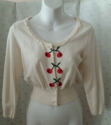 ANTHROPOLOGIE MOTH Bolero CARDIGAN Cropped Cotton SWEATER TOP Cherries IVORY S/M