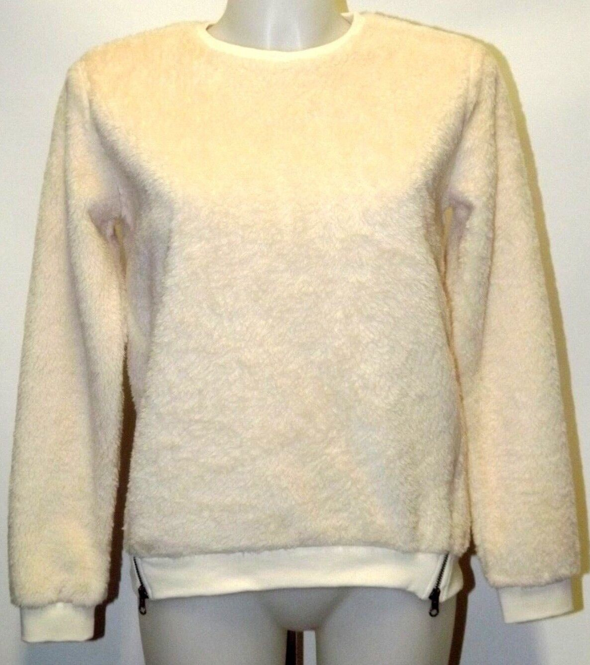 PENN-RICH BY WOOLRICH FELPA ORSETTO SHERPA CREW NECK XS S M ROSE WHITE