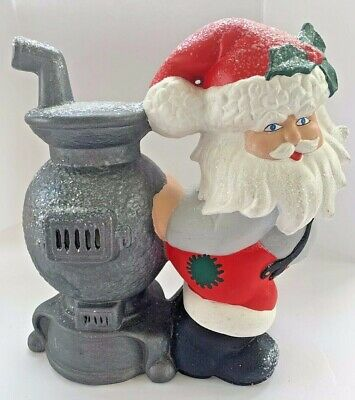Vintage Christmas Ceramic Santa Claus Pot Belly Stove Light Up Figurine Holiday