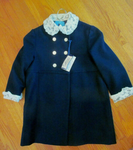 NWT~Vintage 50s Girls Navy Blue Wool Coat w/Lace Collar Cuffs~LOMAY
