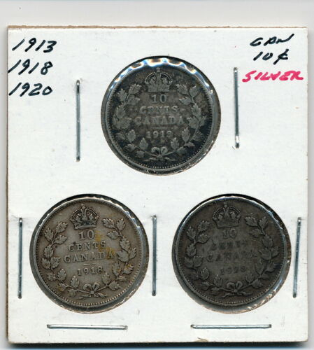 1913, 1918 & 1920 CANADA SILVER 10 CENTS - 3 COIN LOT