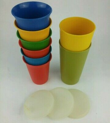 6 Oz Sipper Cups - 11 pc Tupperware Tumblers Cups 6 Bell 109/ 3 Sipper Lid 1552/ 2 Harvest 12oz 873