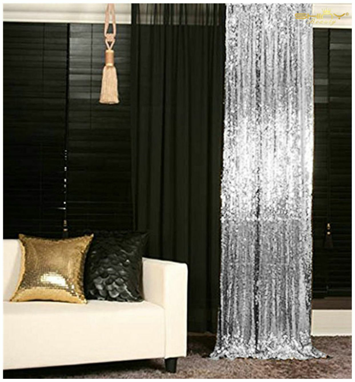 Sequin Curtains Backdrop 2 Panels glitter backdrop for youtu