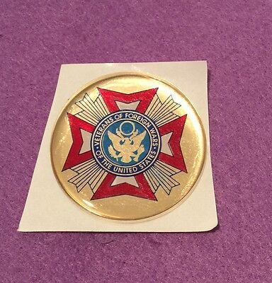 """VFW VETERANS OF FORIEGN WARS  2"""" INCH EPOXY DOME CAR DECAL STICKER EMBLEM"""