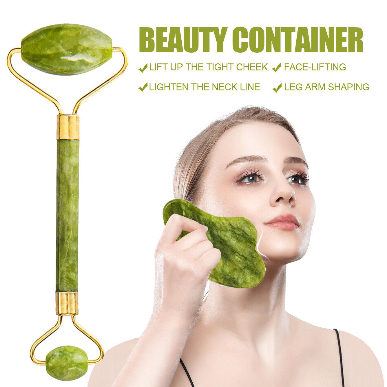 Jade Stone Roller Gesichtsmassagegerät Anti Aging Mit Gua Sha Schabwerkzeugsatz