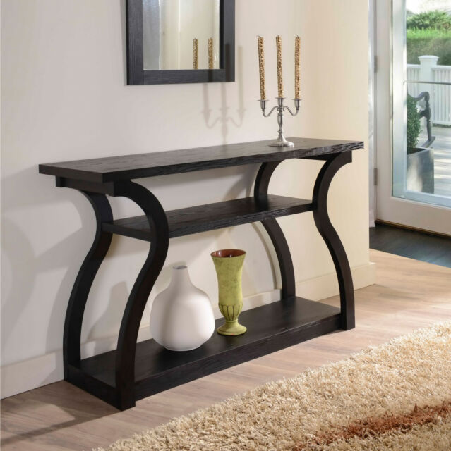 Console Table Black Modern Curved Wood Entry Hallway Office Lobby Foyer  Shelves