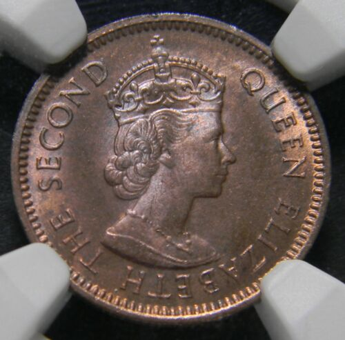 1965 Mauritius Cent NGC MS 63 RB Low Mintage Toned