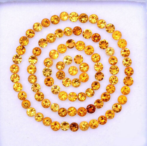 Certified Natural Citrine 2.5 MM Round Cut Faceted Yellow Loose AAA Gemstone Lot