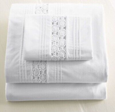 L.L. Bean Shabby Chic White Heirloom Crochet Lace Twin Sheet Set NEW 200 (Heirloom Sheets)