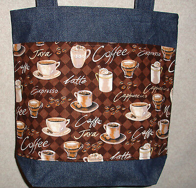 NEW Medium Handmade Coffee Latte Brown Bkgd Denim Tote Bag