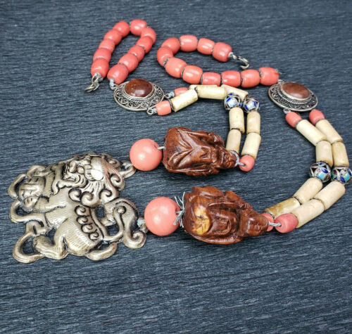 Chinese Silver Coral Glass Enamel FooDog Carved Wood Buddha Necklace