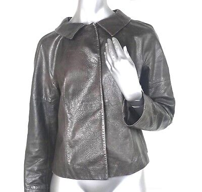 Charles Nolan leather Jacket size 12-10 women Jackie-O round Collar designer