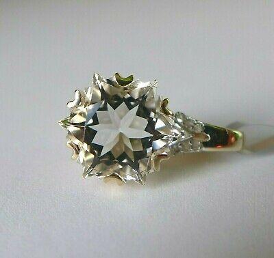 3.75Ct Wobito Snowflake Itinga Petalite & Diamond 9K Gold Pendant, Certificate 9k Gold Diamond Pendant